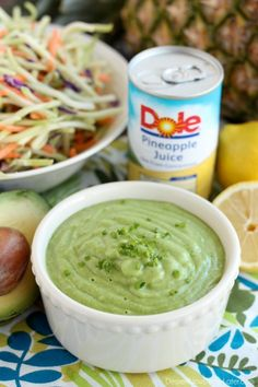 This Pineapple Avocado Dressing is made with DOLE pineapple juice, fresh herbs, and a ripe avocado, for a creamy dressing great on kale or broccoli slaw! @DolePackaged #sponsored #dolepineapplejuice #ayearofsunshine