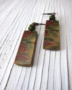 COLORADO BLAZE ...Jasper Slab Earrings  Red by SusanHeleneDesigns, $45.00
