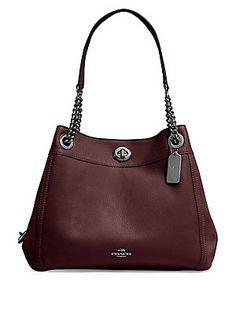 Coach 36855 Pebble Leather Turnlock Edie Shoulder Bag Dark Berry