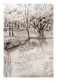 University of the Philippines Diliman - Sunken Garden - Lagoon February 2015 Landscape Study pencil on drawing paper Sunken Garden, February 2015, Philippines, University, Pencil, Study, Landscape, Paper, Drawings
