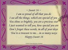 Sweet 16 birthday poems for daughter sixteenth birthday poems for happy sweet sixteen to my beautiful and oh so smart daughter im so very proud to be your mother you always seem to amaze me congrats baby on that test m4hsunfo