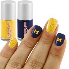 Michigan Wolverines 2-Pack Nail Polish Kit with Decals (ahem - Mascenic nail polish kit)