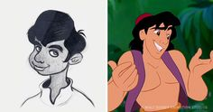 Original concept drawings of Disney characters