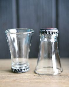 Shot glass from upcycled cutted soda bottles.. These are adorable, and my husband has a friend who would think these are the perfect gift if they were made out of beer bottles. They have different color of beer bottles, how cute would that be.: