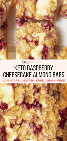 These Keto Raspberry Cheesecake Bars are going to be your new favorite keto dessert! They are a keto, low-carb, grain-free, gluten-free treat made to share with family and friends. Cherry Cheescake, Raspberry Cheesecake Bars, Cheesecake Recipes, Keto Recipes, Cherry Bars, Almond Bars, Low Carb Sweets, Gluten Free Treats