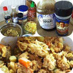 Natalie's Asian Tuna Salad   1 bag Ramen noodles, crumbled and toasted until brown 1 12oz can chunk light Tuna in water, drained 1/3C Onion, diced 1/3C Carrot, diced 1/3C Celery, diced 1/4C Raisins 2 hard boiled eggs chopped  SAUCE:  (these are approximate measurements. I prepare it to taste each time) 2T Mayo 1/4C Favorite teriyaki sauce (I prefer Trader Joes Soyaki sauce) 2T Soy sauce Sriracha (to taste) Emeril's Asian Essence (to taste)  Spray a small frying pan with oil and heat to med/hi...