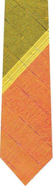 Corn Yellow Stripe on Salmon and Dark Yellow With a Thin Metallic Silver Stripe Thai Rough Silk Tie # 11