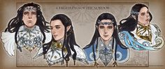 High Kings of the Noldor - Fingolfin, Fingon, Turgon and Gil-galad, illustrated by Sukekiyo Gil Galad, Elf Drawings, Lotr Cast, Shadow Of Mordor, Larp, Jrr Tolkien, Legolas, Fantasy World, Middle Earth