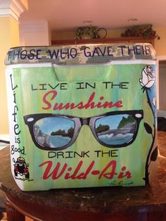 Live in the Sunshine Drink in the Wild Air Cooler Ray-Ban Fraternity Watercolor