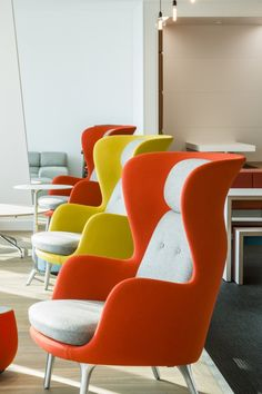 Jaime Hayon's Ro modern wing-back chairs by Fritz Hansen in Lancashire Insurance Group, London