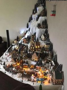 35 Stunning Christmas Village Display Ideas For Home Decoration - You can make embellishments and accessories for your Christmas village scene and make it more personal and unique. Have some fun creating decorations . Christmas Tree Village Display, Christmas Town, Christmas Scenes, Christmas Villages, Noel Christmas, Christmas Projects, Lemax Christmas Village, Diy Christmas Village Accessories, Christmas Decoration Crafts