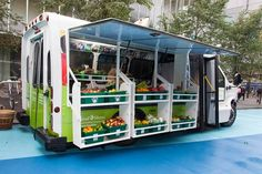 Urban Transformer: Bus Unfolds into Mobile Fresh Food Market