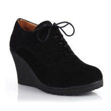 Vintage Style Outdoor Suede Solid Color and Lace-Up Design Women's Wedge Shoes
