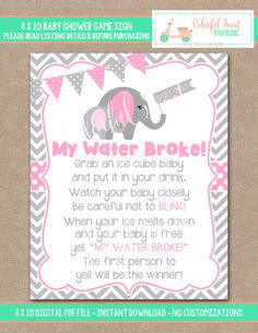 INSTANT DOWNLOAD Elephant Baby Shower My Water Broke Game My