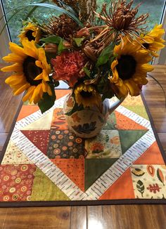 Quilted Table Topper Autumn Fall Green Orange & Browns   Etsy