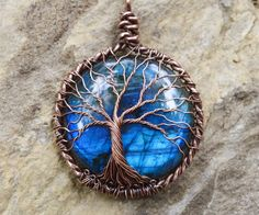 READY to SHIP Tree of Life Necklace w/ Blue and by Maidinthewoods