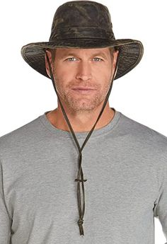 Coolibar UPF 50+ Men's Outback Camo Boonie Hat - Sun Protective at Amazon Men's Clothing store Black Cowboy Hat, Black Cowboys, Cowboy Hats, Mens Sun Hats, Hats For Men, Mens Coin Wallet, Sun Protective Clothing, Sun Protection Hat, Wide Brimmed Hats