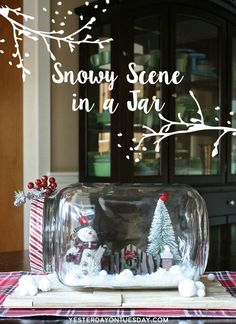 How to make a gorgeous and festive Snowy Scene in a Jar for Christmas and Holiday decorating.