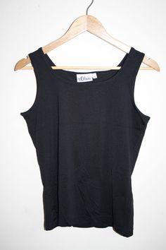 S. Oliver Fashion Designer Woman's Sleeveless Top Cami Vest Black Boat Size 40…