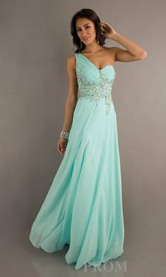 An elegant long prom dress featuring a one shoulder bodice with a seductive sheer back.