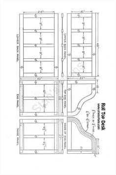 Wooden Rolltop Desk Plans DIY blueprints Rolltop desk