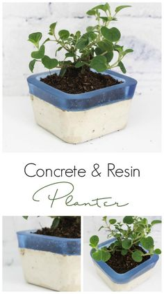 Make your own concrete and resin planter using Envirotex Lite and Easy Mold! Love the colour and textures of this project!