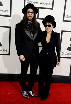 Sean Lennon and Yoko Ono arrive at the Annual GRAMMY Awards on Jan. 26 in Los Angeles Grammy Awards 2014, Grammy Fashion, Sean Lennon, Yoko Ono, Celebs, Celebrities, The Beatles, Style Icons, Red Carpet