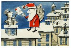 """la première """" carte réponse """" du Père Noël aux lettres envoyées par les enfants en 1962 dessin de René CHAG"""