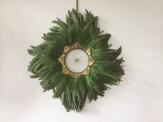 Green Feather Wreath Dreamer Wall Hanging - feather decor, feather wall art, feather wall hanging, feather wall decor by MyDreamcatcherLane on Etsy
