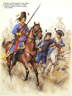 Hussar and infantry corporal, Lauzun's Legion and gunner Royal Artillerie American Revolutionary War, American War, American History, Independence War, American Independence, History Photos, Us History, Military Art, Military History