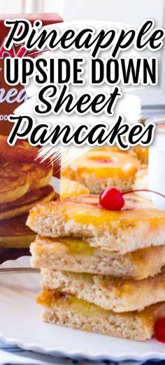 Pineapple Upside Down Sheet Pancakes - The Seaside Baker Baked Breakfast Recipes, Breakfast Bake, Best Breakfast, Brunch Recipes, Dinner Recipes, Breakfast Dishes, Breakfast Ideas, Easy Recipes, Köstliche Desserts