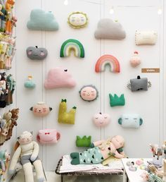 Our wall of pillows ! New Rainbow and Grass Pillows coming this Spring! At the today and tomorrow with (Crystal palace lobby) Baby Toys, Kids Toys, Sewing Projects, Diy Projects, Deco Design, Handmade Toys, Handmade Pillows, Kids Decor, Doll Toys