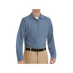 Men's Red Kap Classic-Fit Industrial Button-Down Work Shirt, Size: Large, Blue