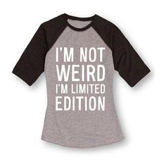 Geek Garb Athletic Heather & Heather Black 'I'm Not Weird' Raglan ($18) ❤ liked on Polyvore featuring activewear, plus size, athletic sportswear, plus size activewear, womens plus size activewear and plus size sportswear