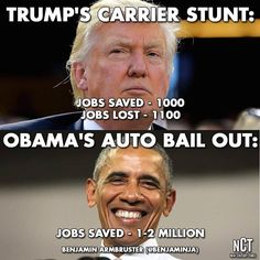 Actually trump only saved 800 jobs and with a huge cost to taxpayers footing the companies tax breaks.
