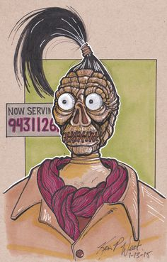 "Shrunken Head Dude from the movie ""Beetlejuice"". Copic markers on toned bristol board."