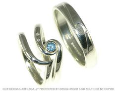 Bespoke ocean inspired engagement ring with matching wedding bands ~ Harriet Kelsall Jewellery Design