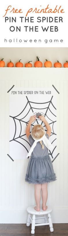 """Free Printable """"Pin The Spider on the Web"""" Game. A Halloween twist to the classic Pin the Tail on the Donkey by Ella Claire."""