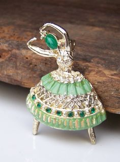 Vintage Ballerina Dancer Pin  Green Enamel with by alysbeads, $20.00