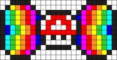 Rainbow Road Mario Musrhoom Bow Perler Bead Pattern / Bead Sprite