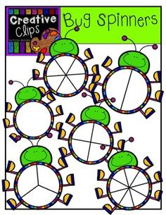 Free Bug Spinners! Great for fractions or games! Creative Clips Clipart by Krista Wallden