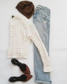 Brown beanie, Express crochet sweater, Old Navy leopard flats, Old Navy boyfriend jeans, all thrifted - Thrifted Outfit of the Day for sale at Jupe du Jour