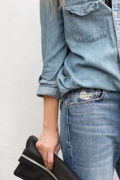 Soft worn-in double denim looking great, along with some perfect accessories … love the black huggable clutch, cute black ankle boots & sunnies. Via Figtny x debra follow on Bloglovin'