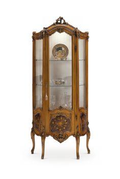 Fratelli Radice : витрина в стиле барокко лакированная в цвет дерева с инкрустацией