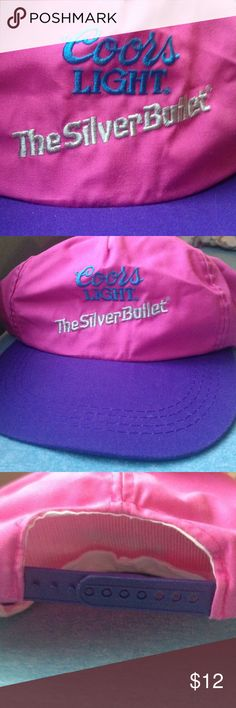 Vintage Coors Light Baseball Cap Gently worn. 80s vintage. Pink nylon, purple bill and plastic adjustment in back. Coors Light: The Silver Bullet. Great for festivals or relaxed outfits. A statement friends will definitely ask you about! Perfect for the quirky, vintage admirer. Accessories Hats