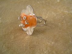 Silver ring with flower and gem stones by StoneSeeds on Etsy