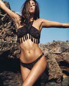 Black print tassel bikini @foraycollective •