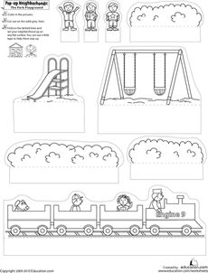 First Grade Arts & Crafts Worksheets: Pop-Up Neighborhoods: The Park Playground Playground Safety, Park Playground, Pop Up, Art For Kids, Crafts For Kids, First Grade Art, Worksheets For Kids, Paper Toys, School Projects