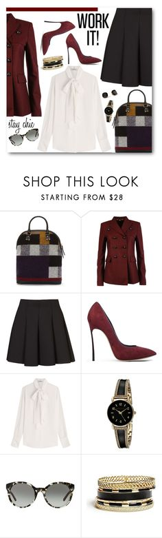 """Chic at Work"" by brendariley-1 ❤ liked on Polyvore featuring Burberry, Gucci, Topshop, Casadei, Valentino, Anne Klein, Tory Burch, Kate Spade, GUESS and Mio"