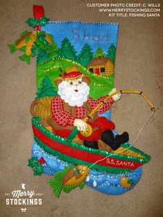 1000 images about bucilla felt christmas stockings on for Fish christmas stocking